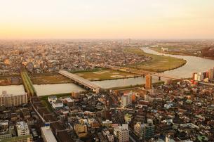 アイリンクタウンから見る夕方の江戸川の写真素材 [FYI00389756]
