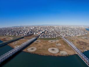 江戸川の市川橋上空の写真素材 [FYI00390760]