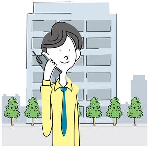 電話する若いビジネスマンの写真素材 [FYI00392347]