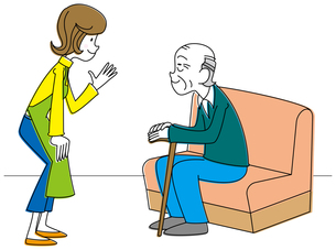微笑む老人と若い介護士の写真素材 [FYI00392362]