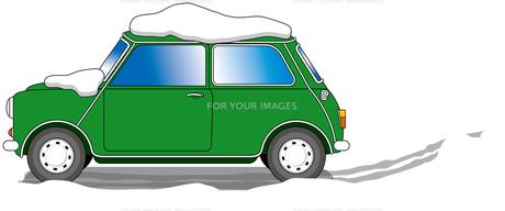 雪道のクラシックカーの写真素材 [FYI00392693]