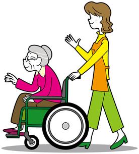車椅子の女性とヘルパーの写真素材 [FYI00392766]