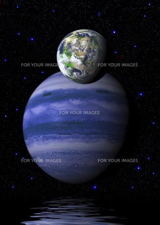 架空のガス惑星と地球型惑星の素材 [FYI00393350]