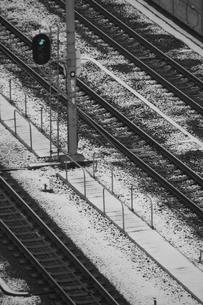 雪の線路と青信号の写真素材 [FYI00394547]