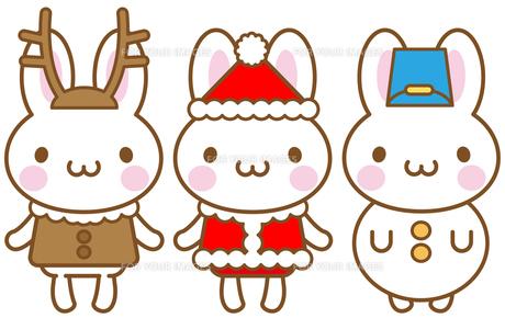 うさぎ クリスマス トナカイ サンタクロース 雪だるまの素材 [FYI00400710]