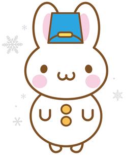 うさぎ 雪だるまの写真素材 [FYI00400718]