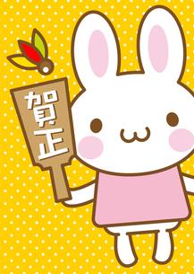 うさぎ 羽子板 年賀状の写真素材 [FYI00400729]