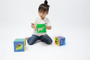 アルファベットブロックで遊ぶ女の子の写真素材 [FYI00403643]