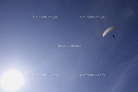 上昇気流に乗るパラグライダーの写真素材 [FYI00403695]