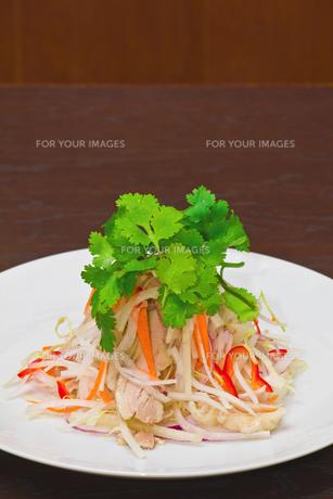 鶏と青パパイヤのサラダの写真素材 [FYI00405039]
