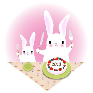 うさぎとケーキの写真素材 [FYI00405394]