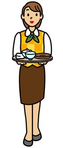 お茶を運ぶビジネスウーマンの写真素材 [FYI00405400]