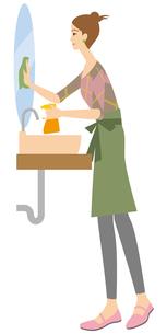 洗面所を掃除する主婦の写真素材 [FYI00405405]