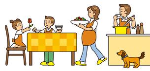 食事の支度をする家族の写真素材 [FYI00405406]
