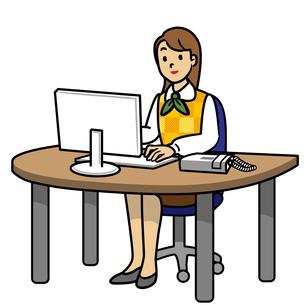 パソコンする女性の写真素材 [FYI00405417]