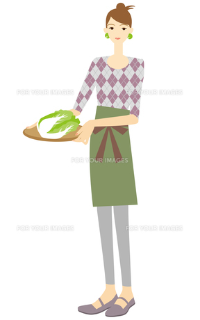 白菜を運ぶ主婦の写真素材 [FYI00405435]
