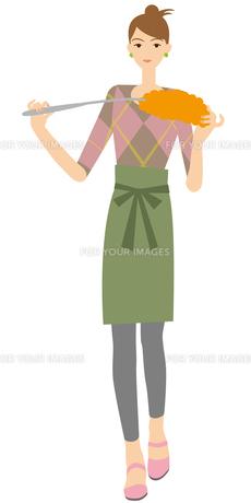 ハンディモップで掃除する主婦の写真素材 [FYI00405439]