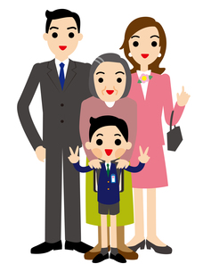 入学する男の子と家族の素材 [FYI00405458]