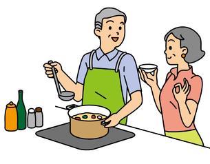 料理するシニア夫婦の写真素材 [FYI00405488]