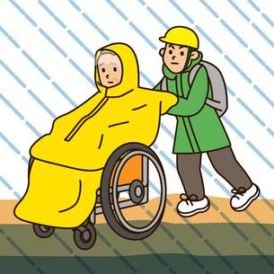 水害避難する車椅子の高齢者の写真素材 [FYI00405493]