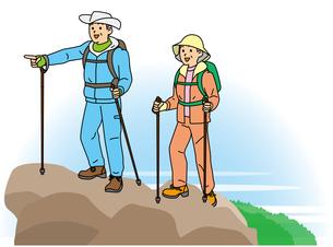 登山するシニア夫婦の写真素材 [FYI00405503]