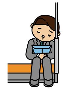 電車で居眠りするビジネスマンの写真素材 [FYI00405559]