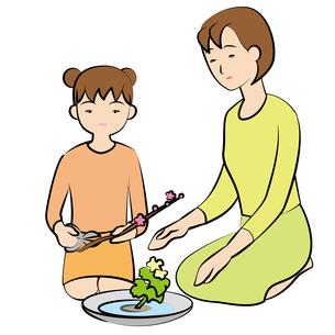 生花をする親子の素材 [FYI00405612]