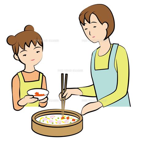 ちらし寿司を作る母娘の素材 [FYI00405624]