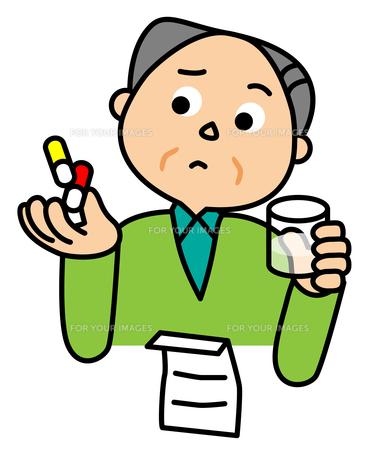薬を飲むおじいちゃんの素材 [FYI00405631]