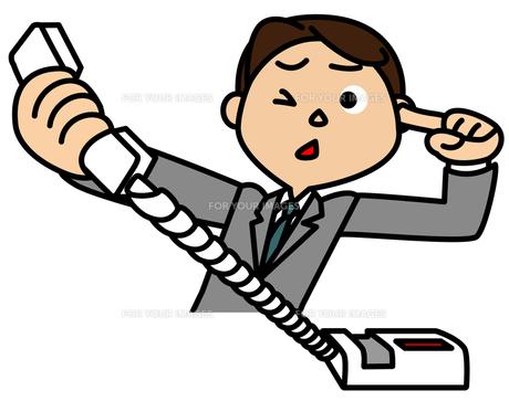 クレームの電話を受けるビジネスマンの写真素材 [FYI00405638]