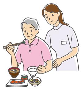 おばあさんの食事介助する介護士の写真素材 [FYI00405641]