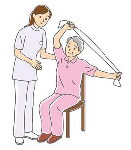 椅子運動でリハビリするおばあさんの写真素材 [FYI00405643]