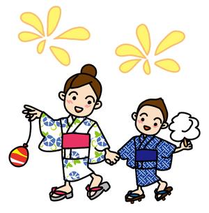 浴衣で夏祭りの写真素材 [FYI00405647]