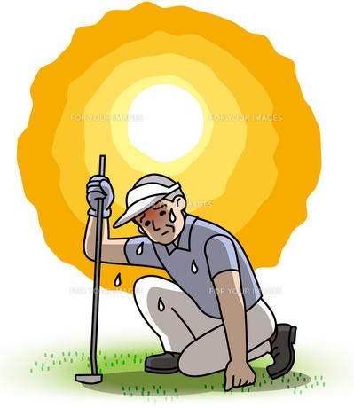 ゴルフ中の熱中症注意の写真素材 [FYI00405679]