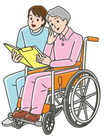 作業療法士と車椅子のシニア女性の写真素材 [FYI00405783]