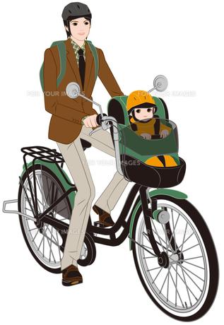 子供乗せ自転車に乗るイクメンの写真素材 [FYI00405786]