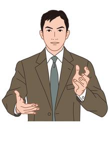説明するビジネスマンの素材 [FYI00405794]