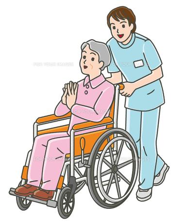作業療法士と車椅子のシニア女性の写真素材 [FYI00405807]