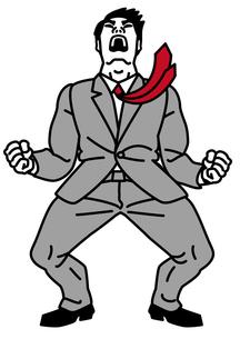 雄たけびを上げるビジネスマンの写真素材 [FYI00405840]