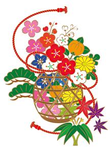 和の花かごの素材 [FYI00405852]