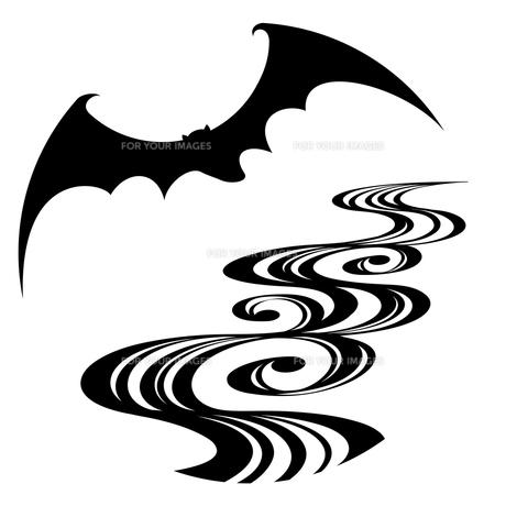 蝙蝠と流水文様の写真素材 [FYI00405854]