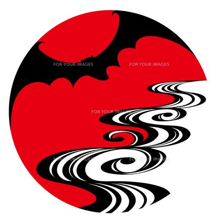 蝙蝠に光琳流水の写真素材 [FYI00405859]