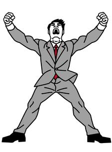 雄たけびを上げるビジネスマンの写真素材 [FYI00405866]