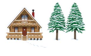 冬のログハウスの写真素材 [FYI00405901]