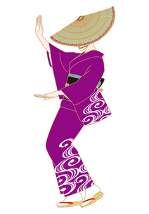 おけさ笠で盆踊りする女性の写真素材 [FYI00405924]