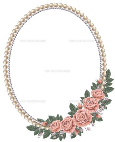 真珠とバラのフレームの素材 [FYI00405970]