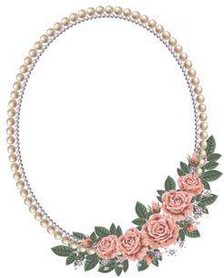 真珠とバラのフレームの写真素材 [FYI00405970]