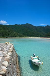 澄んだ浅瀬に小舟の写真素材 [FYI00405985]