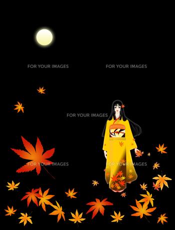 月と紅葉と着物の女性の写真素材 [FYI00407031]