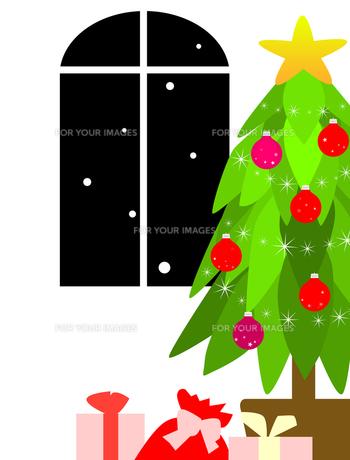 クリスマスツリーとプレゼントと窓の写真素材 [FYI00407042]